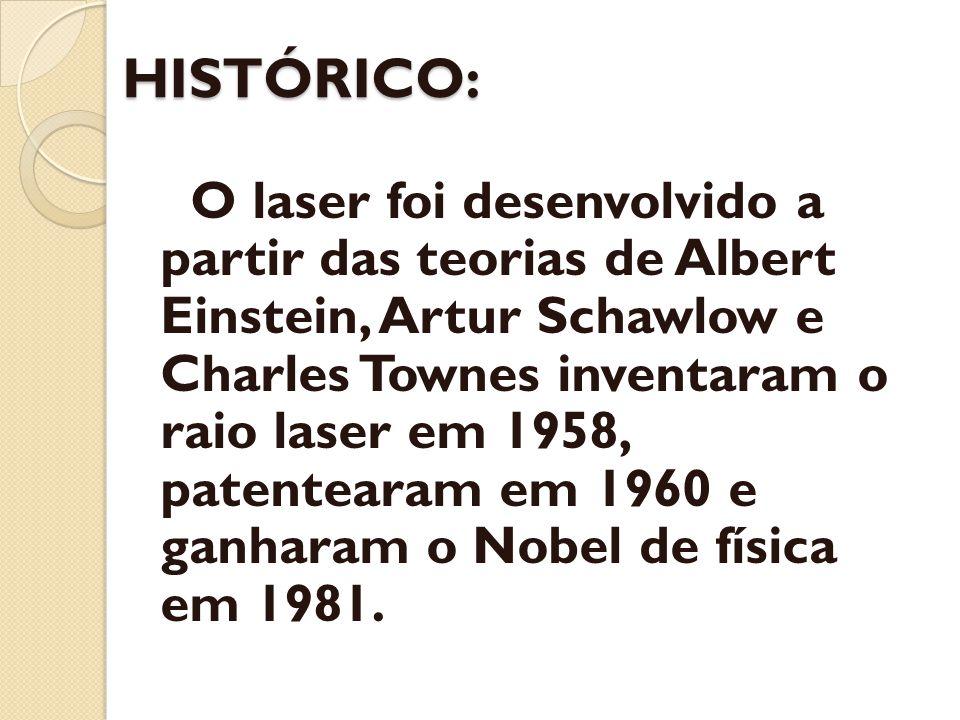 HISTÓRICO: O laser foi desenvolvido a partir das teorias de Albert Einstein, Artur Schawlow e Charles Townes inventaram o raio laser em 1958, patentea