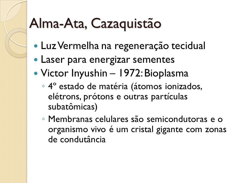 Alma-Ata, Cazaquistão Luz Vermelha na regeneração tecidual Laser para energizar sementes Victor Inyushin – 1972: Bioplasma 4º estado de matéria (átomo