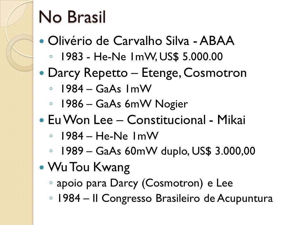 No Brasil Olivério de Carvalho Silva - ABAA 1983 - He-Ne 1mW, US$ 5.000.00 Darcy Repetto – Etenge, Cosmotron 1984 – GaAs 1mW 1986 – GaAs 6mW Nogier Eu