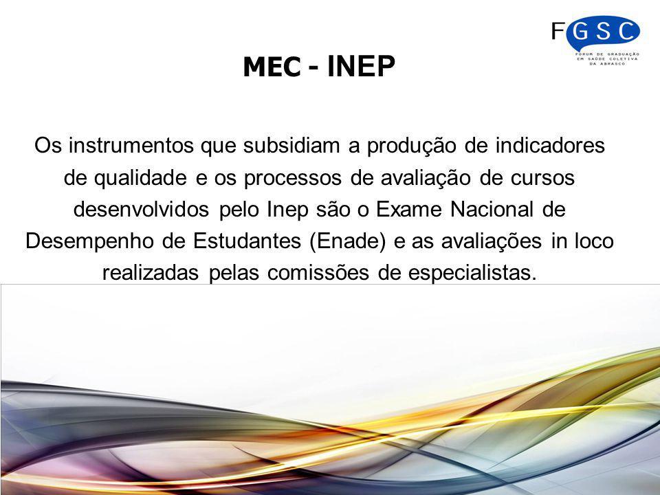 MEC - INEP Os instrumentos que subsidiam a produção de indicadores de qualidade e os processos de avaliação de cursos desenvolvidos pelo Inep são o Exame Nacional de Desempenho de Estudantes (Enade) e as avaliações in loco realizadas pelas comissões de especialistas.