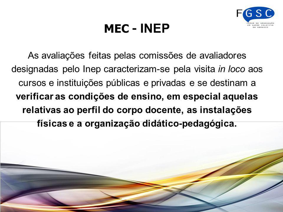 MEC - INEP As avaliações feitas pelas comissões de avaliadores designadas pelo Inep caracterizam-se pela visita in loco aos cursos e instituições públicas e privadas e se destinam a verificar as condições de ensino, em especial aquelas relativas ao perfil do corpo docente, as instalações físicas e a organização didático-pedagógica.