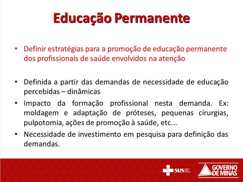 Educação Permanente Definir estratégias para a promoção de educação permanente dos profissionais de saúde envolvidos na atenção Definida a partir das