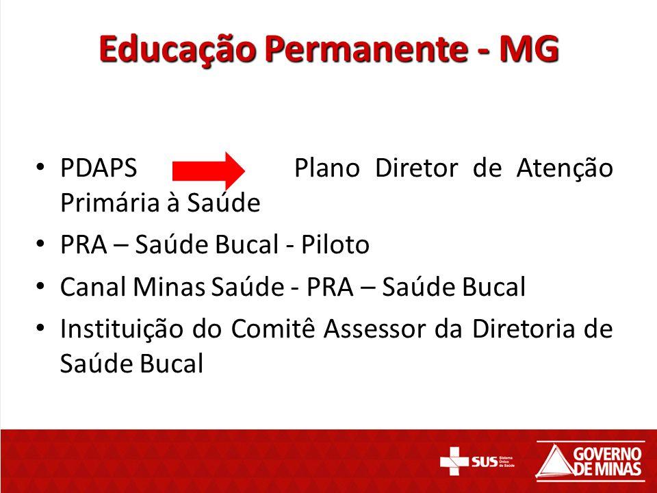 Educação Permanente - MG PDAPS Plano Diretor de Atenção Primária à Saúde PRA – Saúde Bucal - Piloto Canal Minas Saúde - PRA – Saúde Bucal Instituição