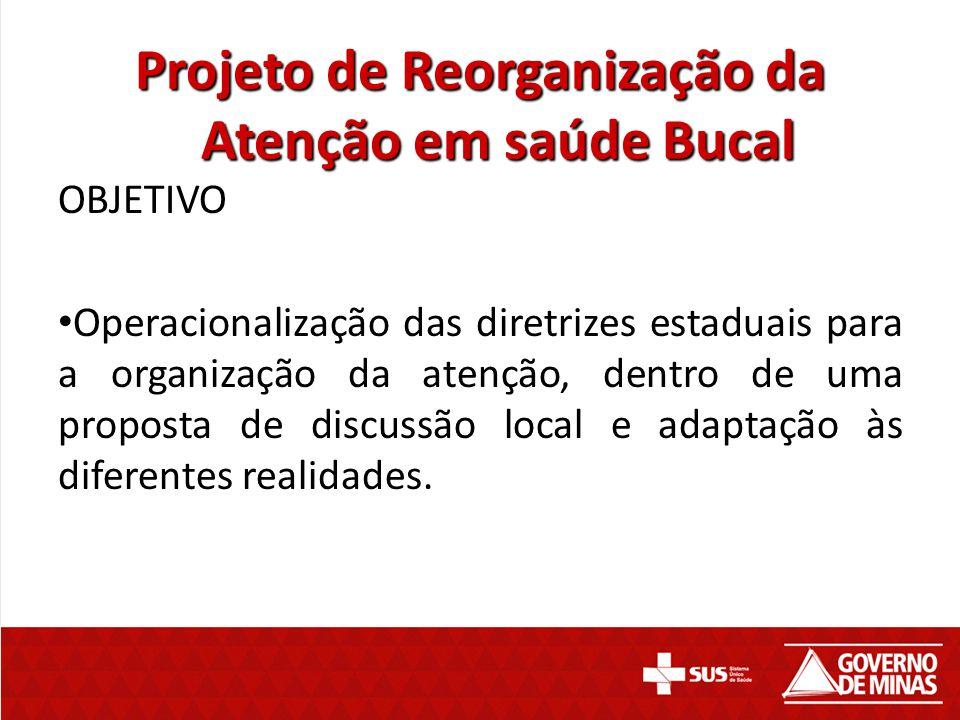 Projeto de Reorganização da Atenção em saúde Bucal OBJETIVO Operacionalização das diretrizes estaduais para a organização da atenção, dentro de uma pr