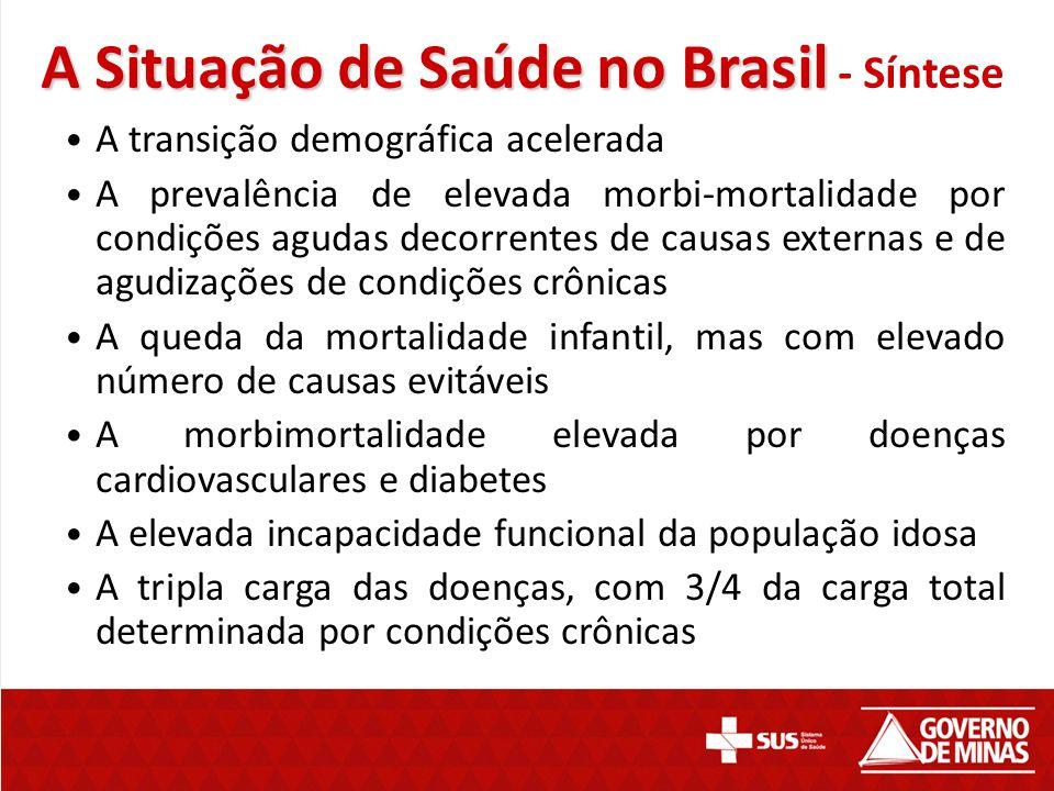 A Situação de Saúde no Brasil A Situação de Saúde no Brasil - Síntese A transição demográfica acelerada A prevalência de elevada morbi-mortalidade por
