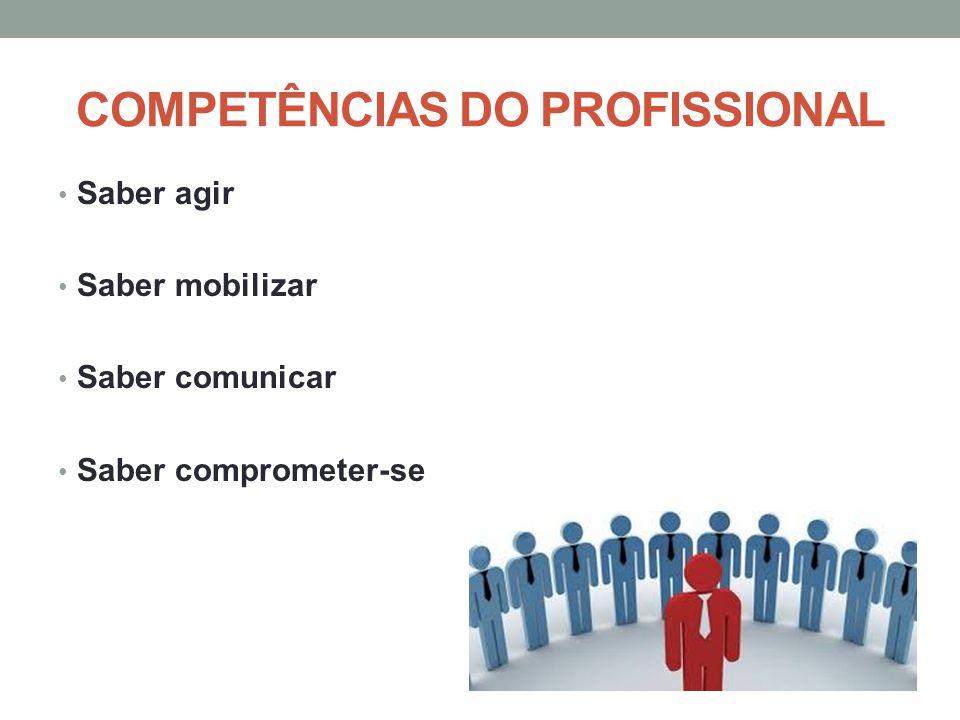 COMPETÊNCIAS DO PROFISSIONAL Saber agir Saber mobilizar Saber comunicar Saber comprometer-se