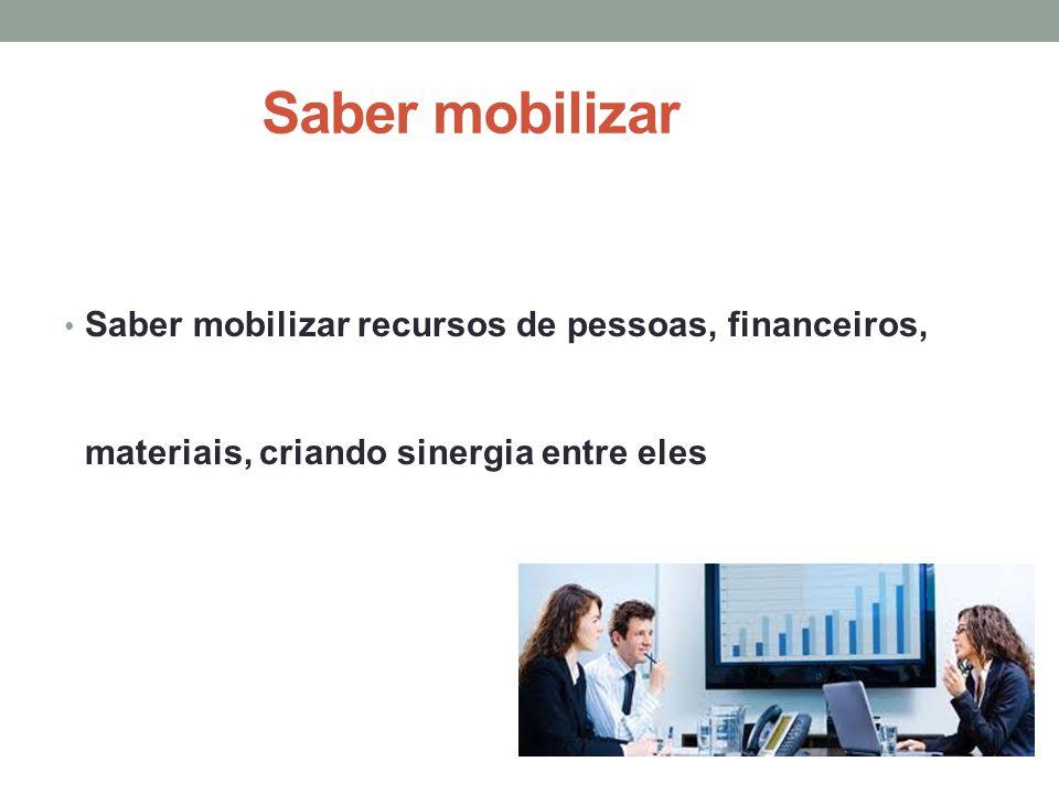 Saber mobilizar Saber mobilizar recursos de pessoas, financeiros, materiais, criando sinergia entre eles