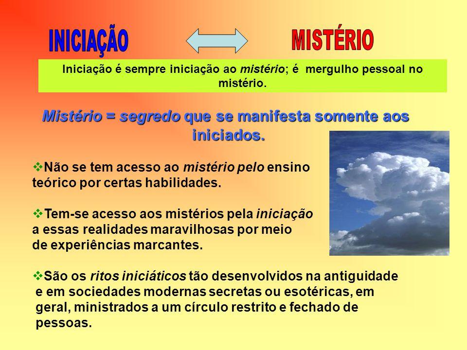 Mistério = segredo que se manifesta somente aos iniciados. iniciados. Não se tem acesso ao mistério pelo ensino teórico por certas habilidades. Tem-se
