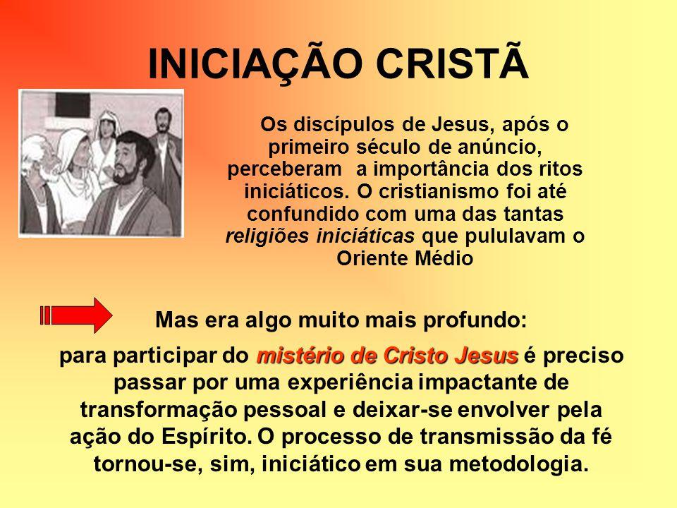 INICIAÇÃO CRISTÃ Os discípulos de Jesus, após o primeiro século de anúncio, perceberam a importância dos ritos iniciáticos. O cristianismo foi até con