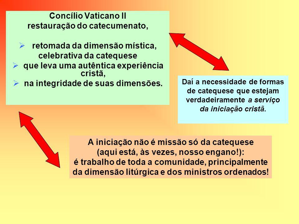 Concílio Vaticano II restauração do catecumenato, retomada da dimensão mística, celebrativa da catequese que leva uma autêntica experiência cristã, na