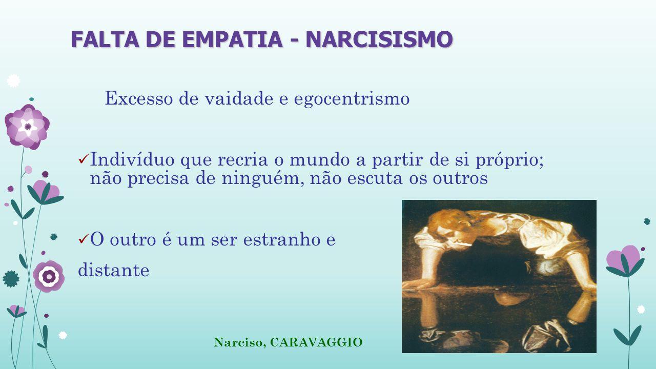 FALTA DE EMPATIA - NARCISISMO Excesso de vaidade e egocentrismo Indivíduo que recria o mundo a partir de si próprio; não precisa de ninguém, não escuta os outros O outro é um ser estranho e distante Narciso, CARAVAGGIO