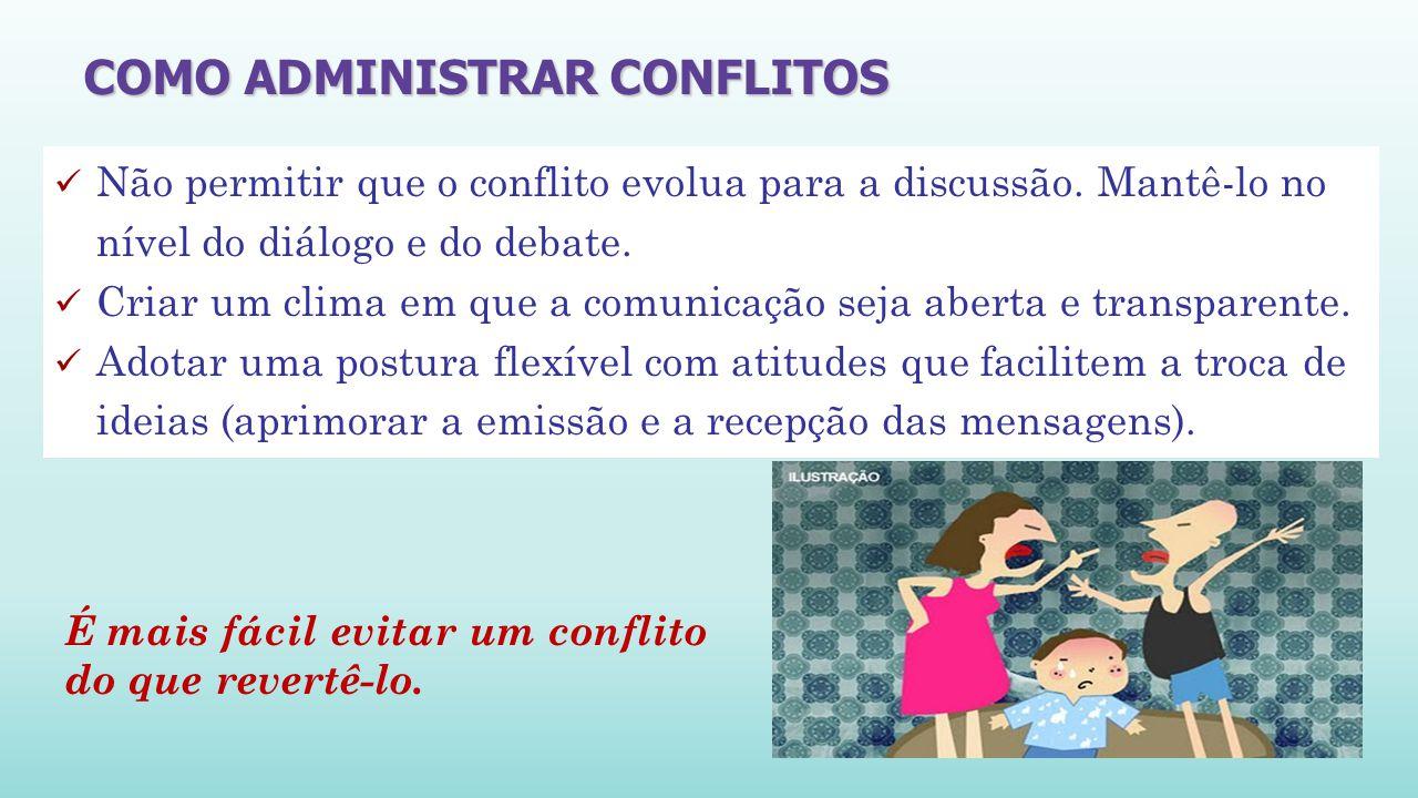 Não permitir que o conflito evolua para a discussão.