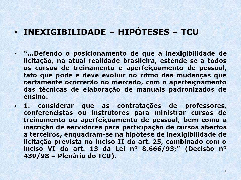 INEXIGIBILIDADE – HIPÓTESES – TCU...Defendo o posicionamento de que a inexigibilidade de licitação, na atual realidade brasileira, estende-se a todos
