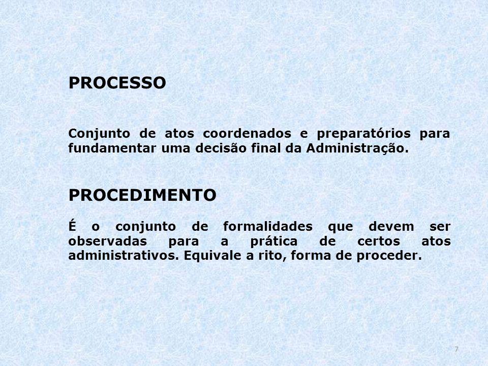 PROCESSO Conjunto de atos coordenados e preparatórios para fundamentar uma decisão final da Administração. PROCEDIMENTO É o conjunto de formalidades q