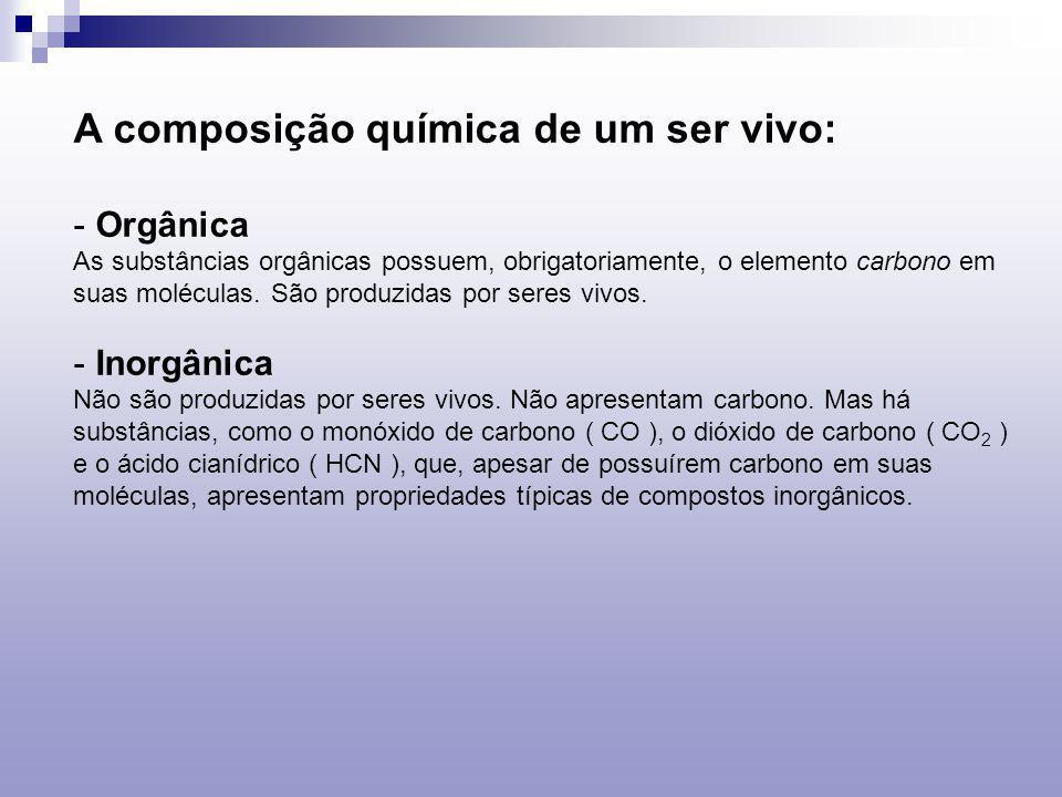A composição química de um ser vivo: - Orgânica As substâncias orgânicas possuem, obrigatoriamente, o elemento carbono em suas moléculas. São produzid