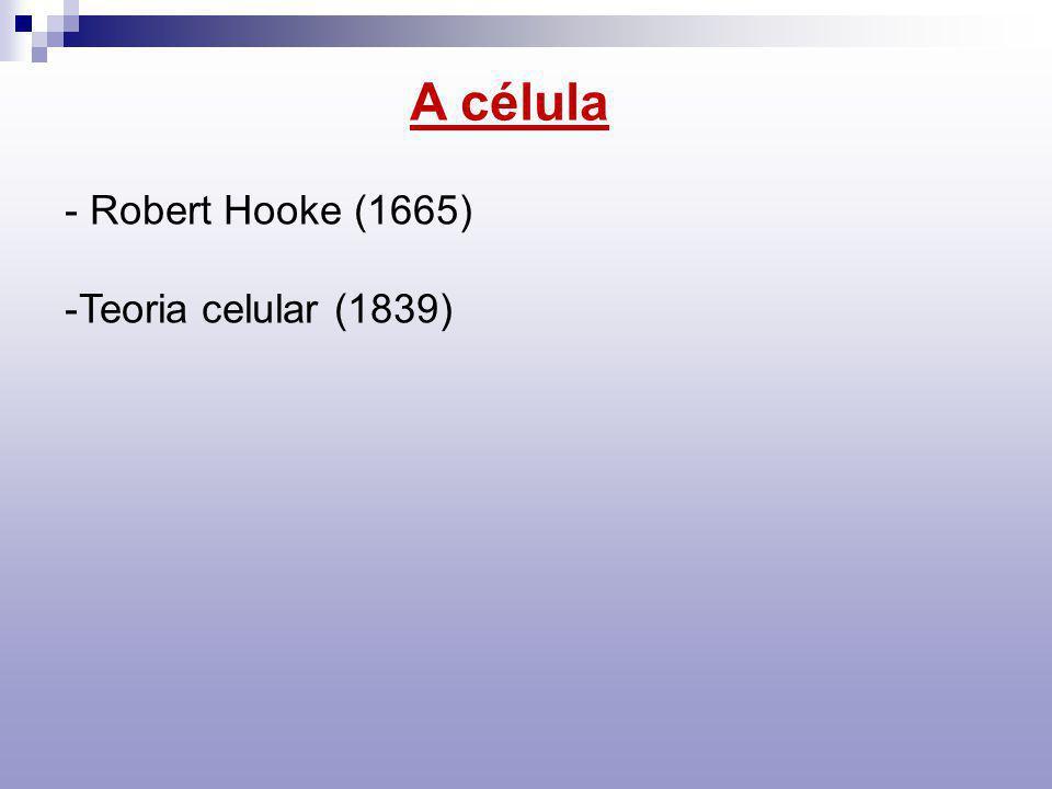 A célula - Robert Hooke (1665) -Teoria celular (1839)