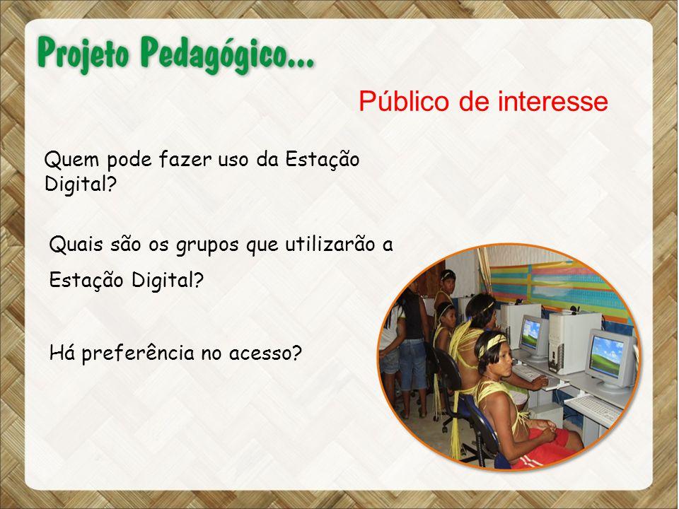 Público de interesse Quais são os grupos que utilizarão a Estação Digital.