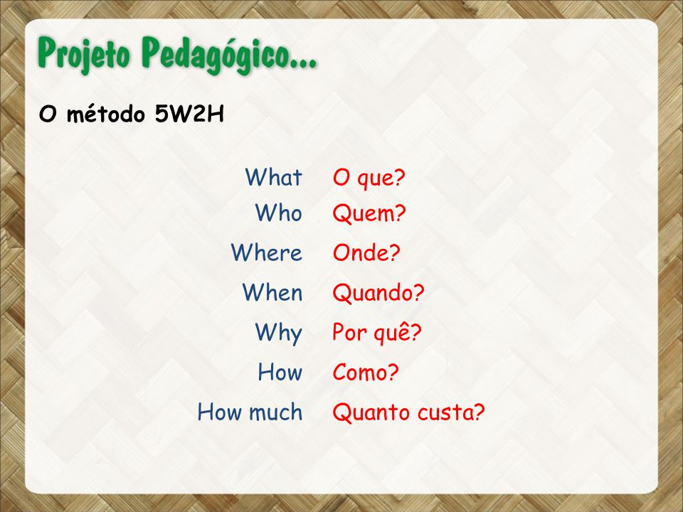 O método 5W2H What Who Where When Why How How much O que.