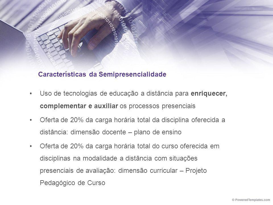 Características da Semipresencialidade Uso de tecnologias de educação a distância para enriquecer, complementar e auxiliar os processos presenciais Of