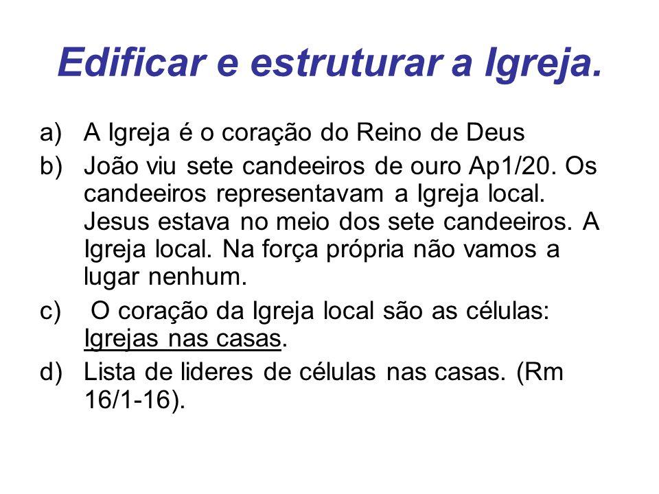 Edificar e estruturar a Igreja. a)A Igreja é o coração do Reino de Deus b)João viu sete candeeiros de ouro Ap1/20. Os candeeiros representavam a Igrej