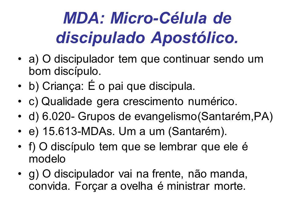 MDA: Micro-Célula de discipulado Apostólico. a) O discipulador tem que continuar sendo um bom discípulo. b) Criança: É o pai que discipula. c) Qualida