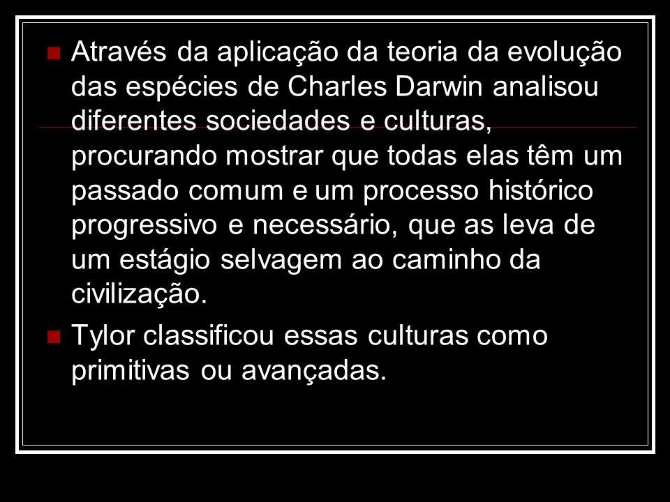 Através da aplicação da teoria da evolução das espécies de Charles Darwin analisou diferentes sociedades e culturas, procurando mostrar que todas elas