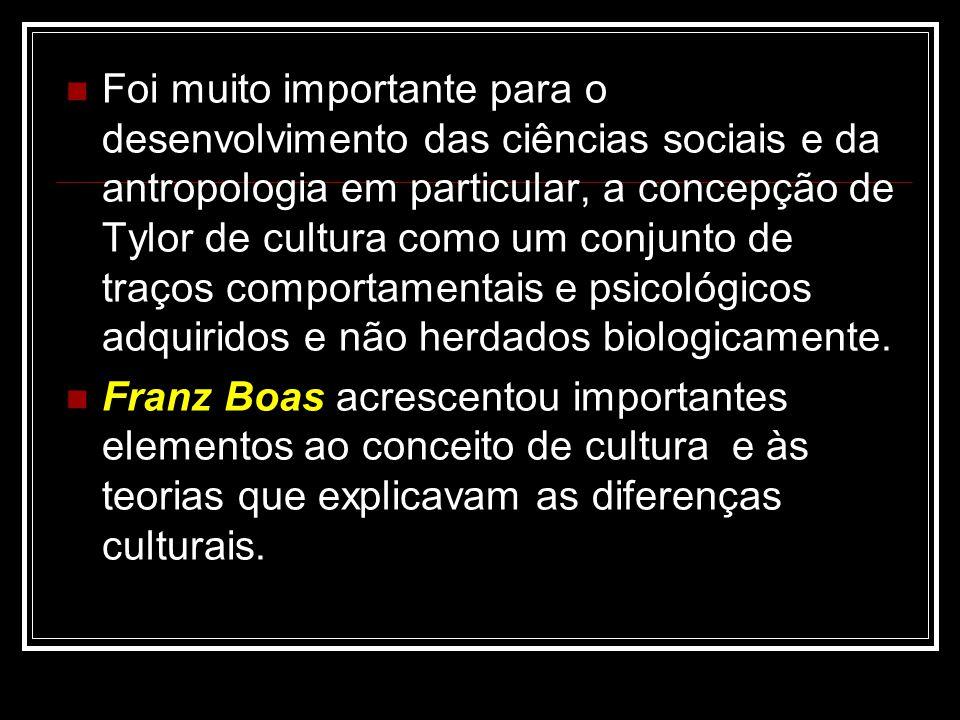 Foi muito importante para o desenvolvimento das ciências sociais e da antropologia em particular, a concepção de Tylor de cultura como um conjunto de