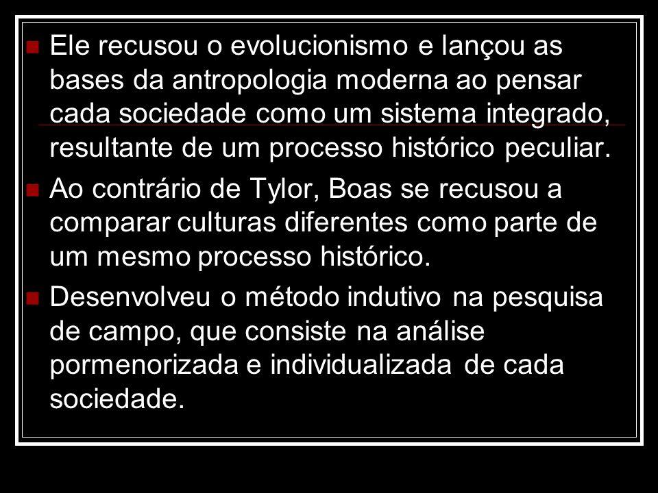 Ele recusou o evolucionismo e lançou as bases da antropologia moderna ao pensar cada sociedade como um sistema integrado, resultante de um processo hi