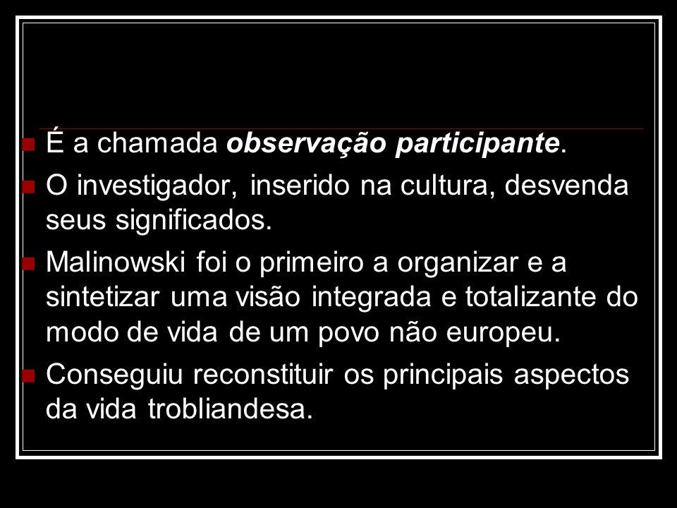 É a chamada observação participante. O investigador, inserido na cultura, desvenda seus significados. Malinowski foi o primeiro a organizar e a sintet