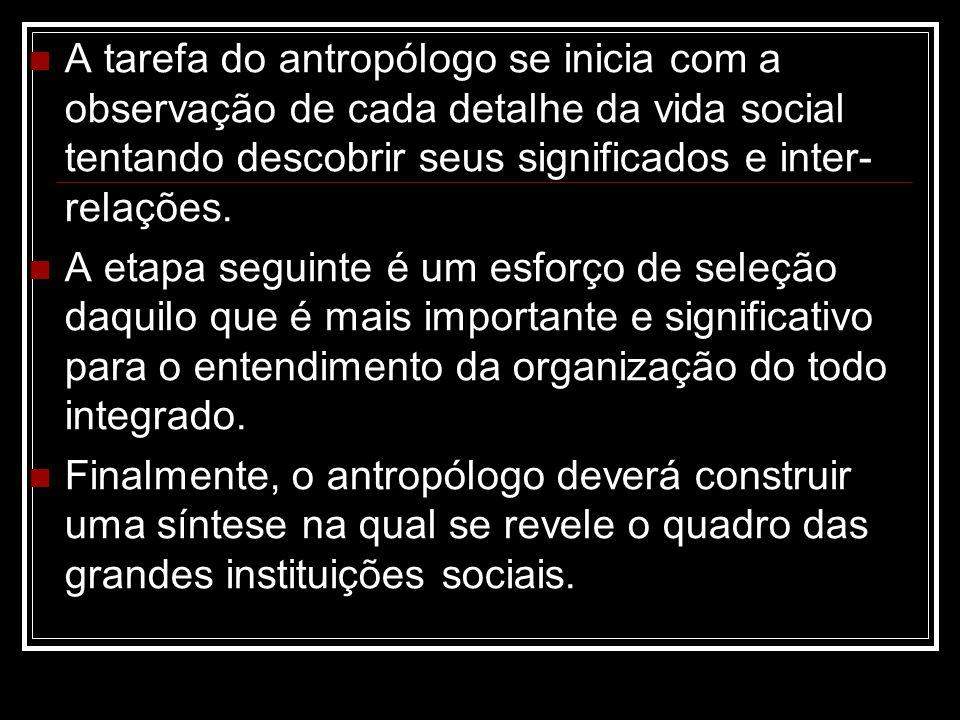 A tarefa do antropólogo se inicia com a observação de cada detalhe da vida social tentando descobrir seus significados e inter- relações. A etapa segu