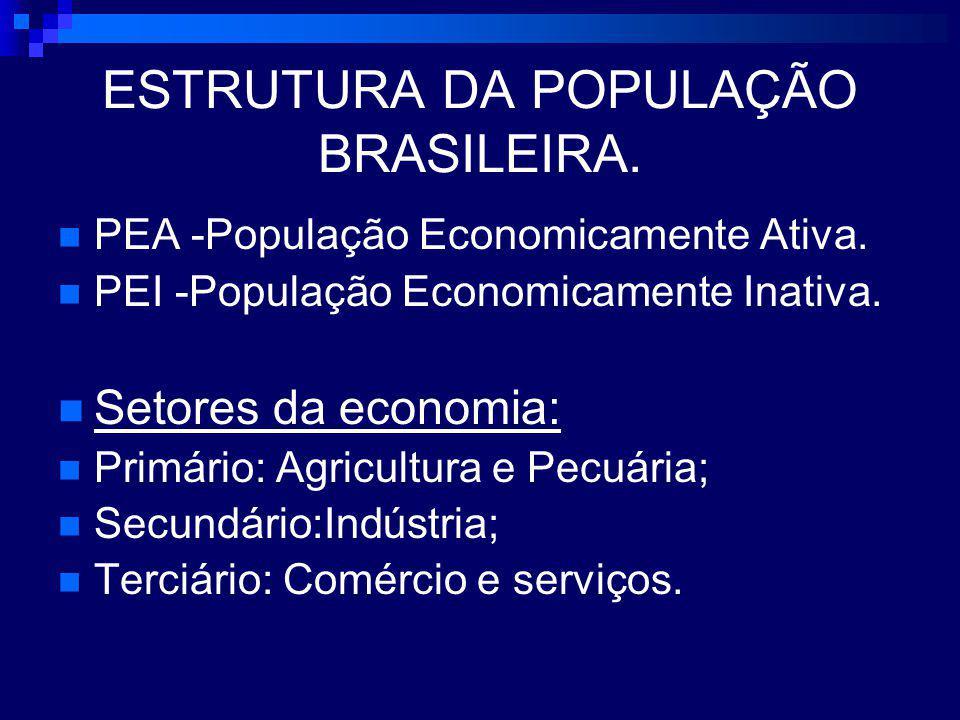 ESTRUTURA DA POPULAÇÃO BRASILEIRA.PEA -População Economicamente Ativa.