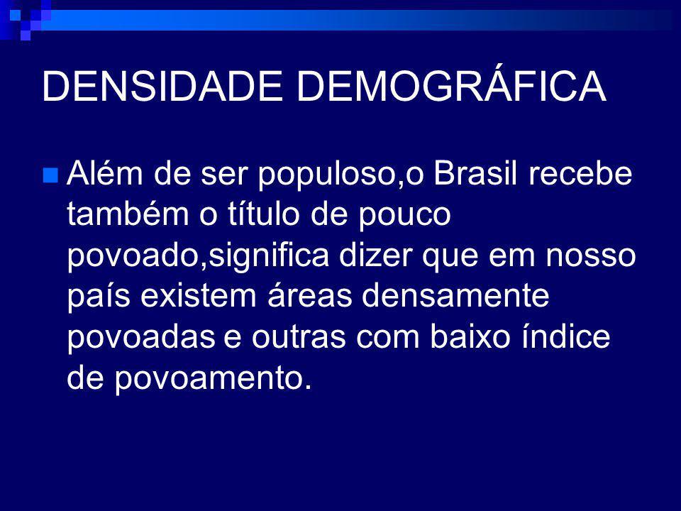 DENSIDADE DEMOGRÁFICA Além de ser populoso,o Brasil recebe também o título de pouco povoado,significa dizer que em nosso país existem áreas densamente povoadas e outras com baixo índice de povoamento.
