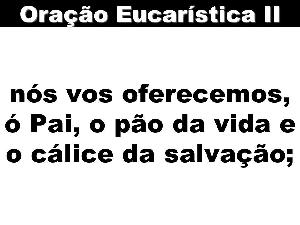 nós vos oferecemos, ó Pai, o pão da vida e o cálice da salvação; Oração Eucarística II