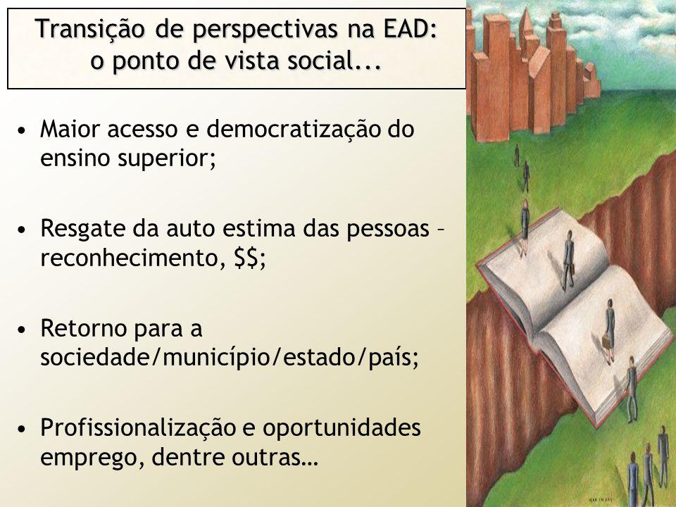 Transição de perspectivas na EAD: o ponto de vista social... Maior acesso e democratização do ensino superior; Resgate da auto estima das pessoas – re