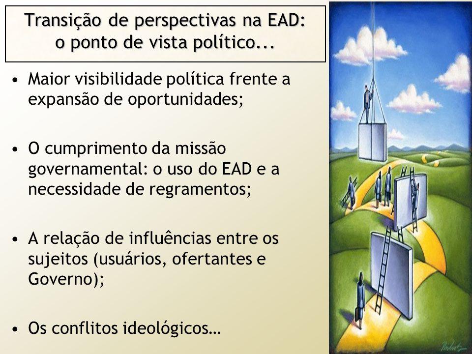Transição de perspectivas na EAD: o ponto de vista político... Maior visibilidade política frente a expansão de oportunidades; O cumprimento da missão