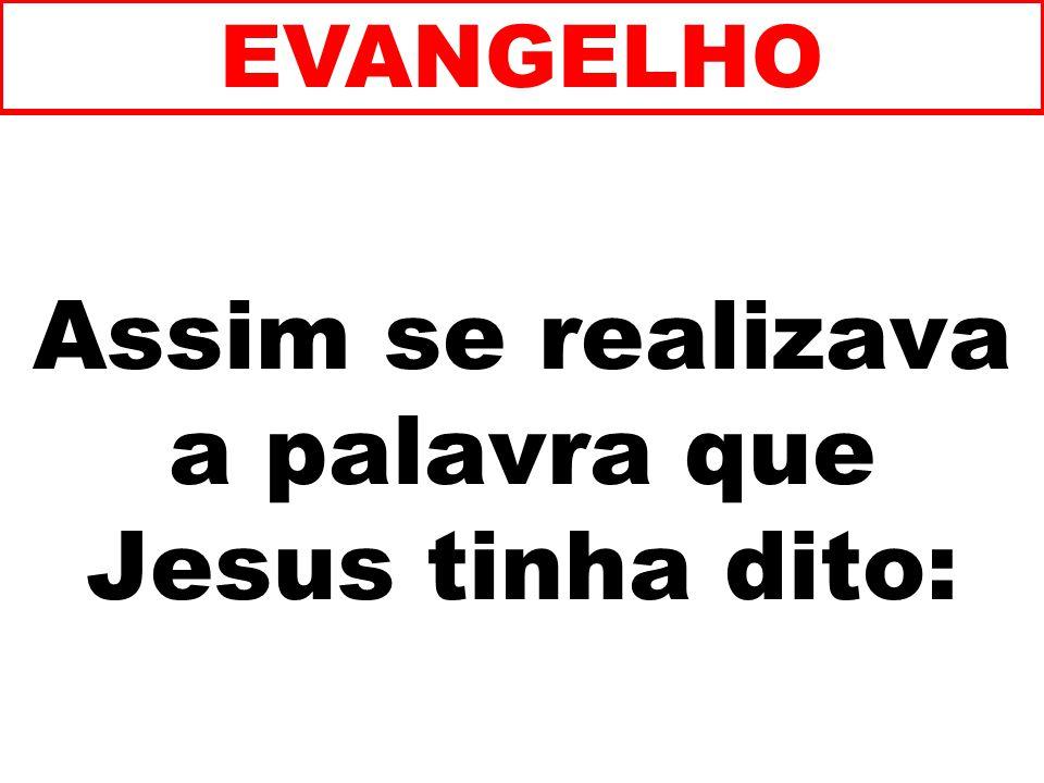 Assim se realizava a palavra que Jesus tinha dito: EVANGELHO