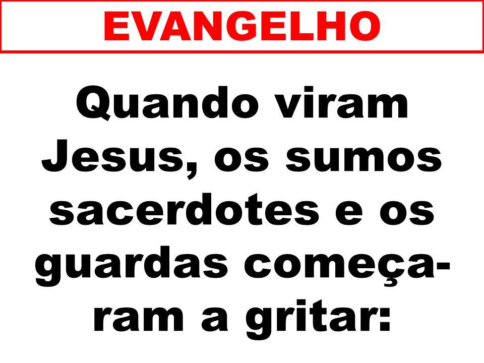 Quando viram Jesus, os sumos sacerdotes e os guardas começa- ram a gritar: EVANGELHO