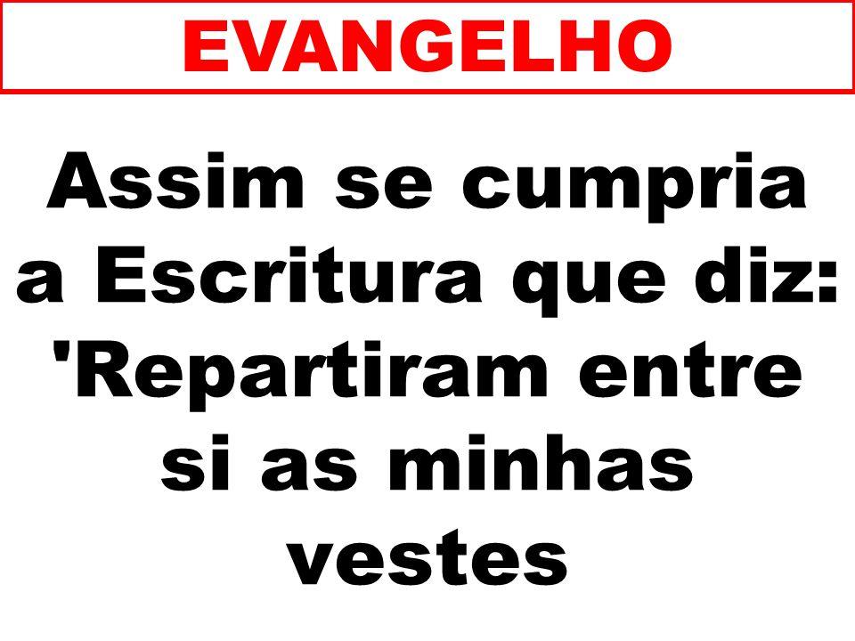 Assim se cumpria a Escritura que diz: Repartiram entre si as minhas vestes EVANGELHO