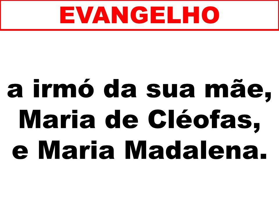 a irmó da sua mãe, Maria de Cléofas, e Maria Madalena. EVANGELHO