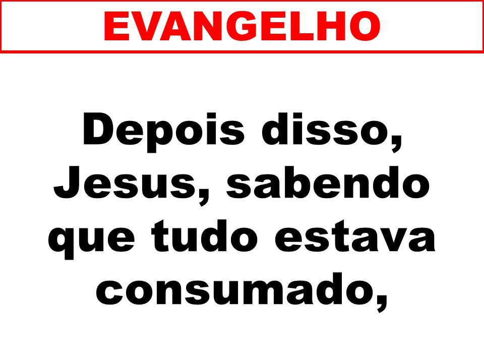 Depois disso, Jesus, sabendo que tudo estava consumado, EVANGELHO