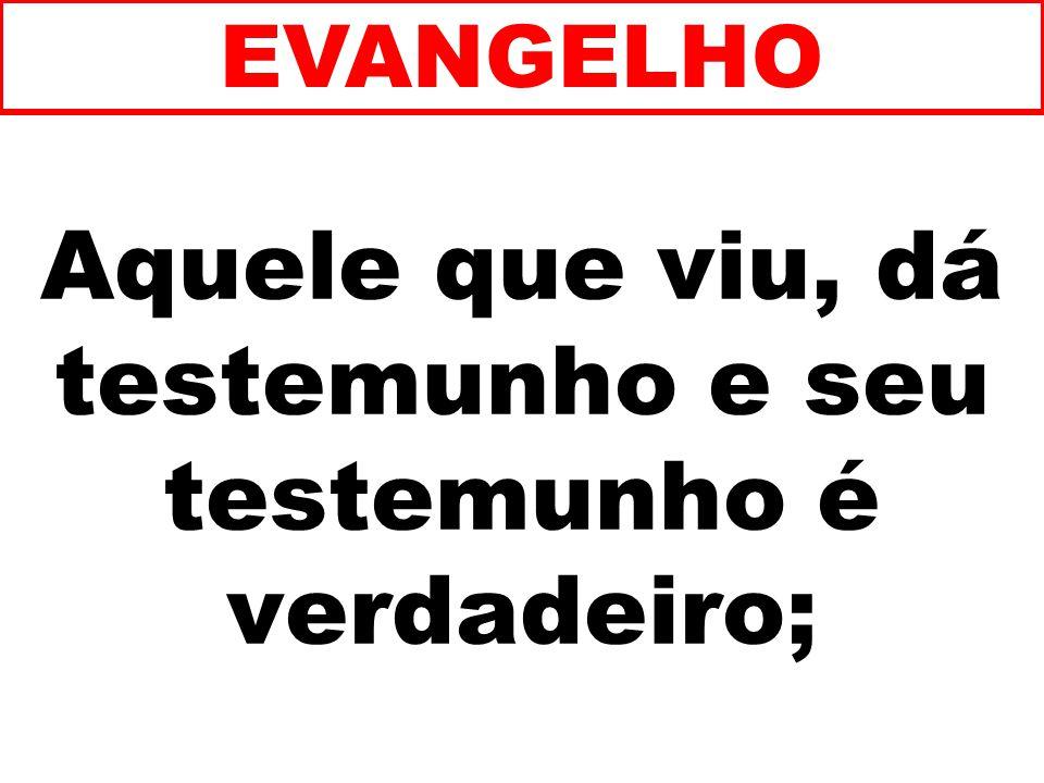 Aquele que viu, dá testemunho e seu testemunho é verdadeiro; EVANGELHO