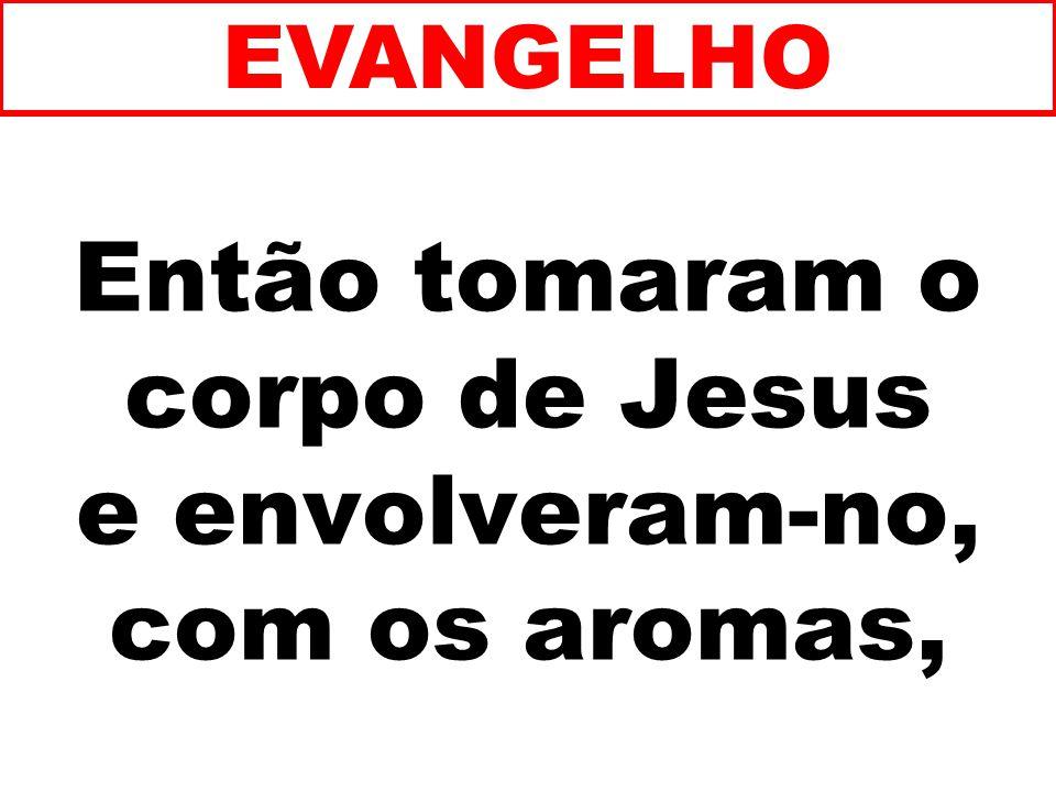 Então tomaram o corpo de Jesus e envolveram-no, com os aromas, EVANGELHO