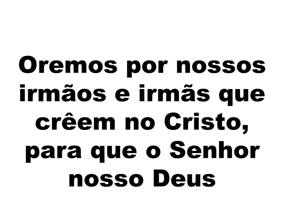 Oremos por nossos irmãos e irmãs que crêem no Cristo, para que o Senhor nosso Deus