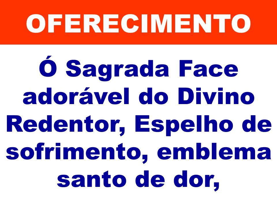 OFERECIMENTO Ó Sagrada Face adorável do Divino Redentor, Espelho de sofrimento, emblema santo de dor,
