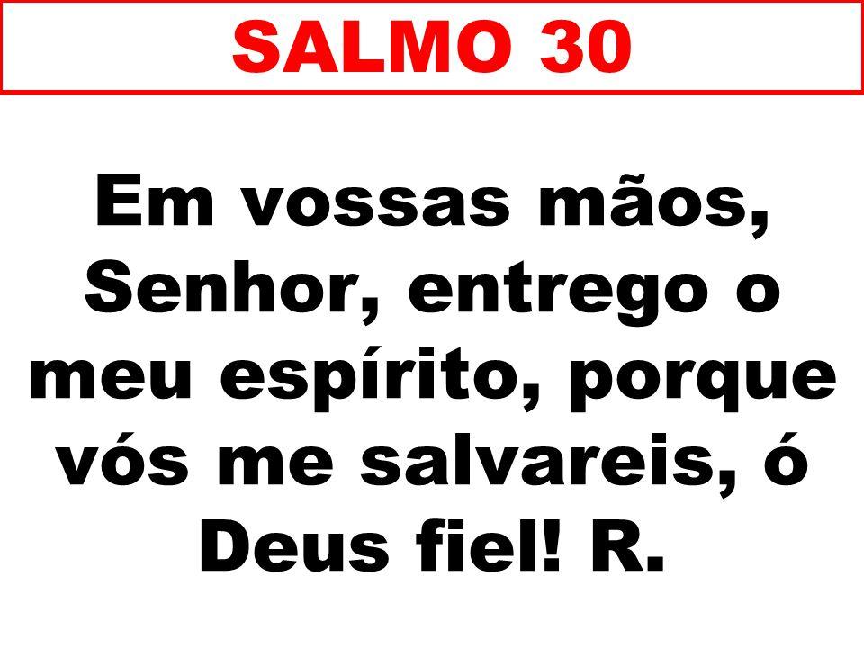 Em vossas mãos, Senhor, entrego o meu espírito, porque vós me salvareis, ó Deus fiel! R. SALMO 30
