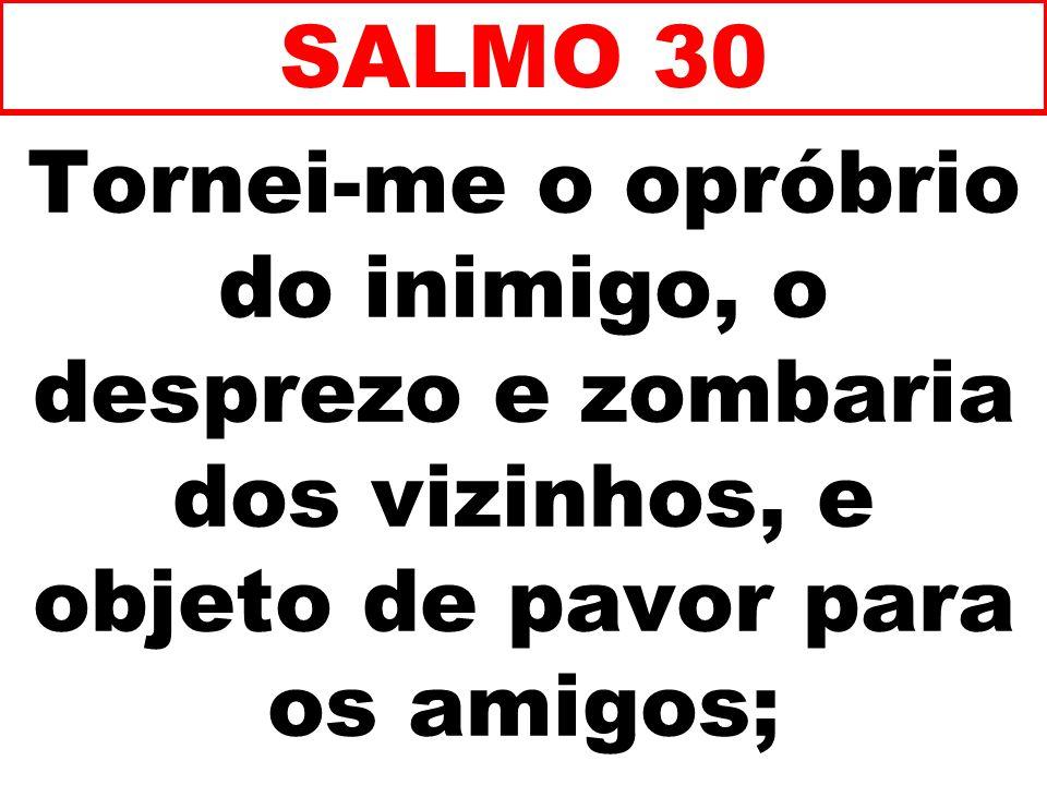 Tornei-me o opróbrio do inimigo, o desprezo e zombaria dos vizinhos, e objeto de pavor para os amigos; SALMO 30