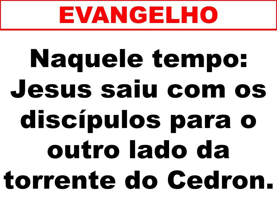 Naquele tempo: Jesus saiu com os discípulos para o outro lado da torrente do Cedron. EVANGELHO