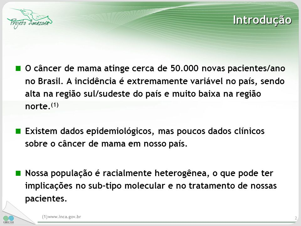 2 Introdução O câncer de mama atinge cerca de 50.000 novas pacientes/ano no Brasil. A incidência é extremamente variável no país, sendo alta na região