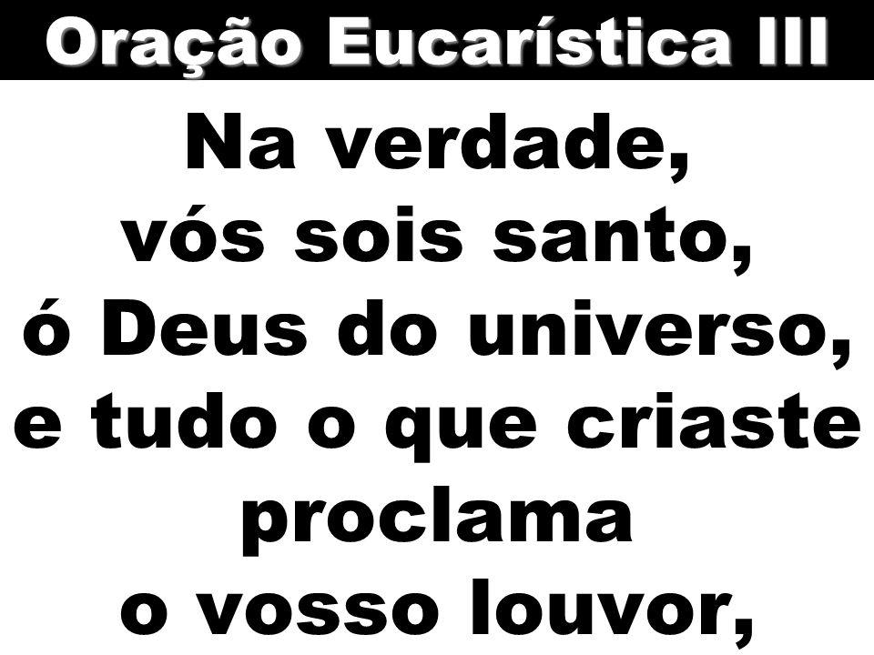 Na verdade, vós sois santo, ó Deus do universo, e tudo o que criaste proclama o vosso louvor, Oração Eucarística III