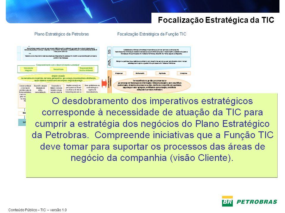 Conteúdo Público – TIC – versão 1.0 Focalização Estratégica da TIC Na última quarta-feira (1/08), a presidente da Petrobras, Maria das Graças Silva Foster, apresentou para uma platéia de empresários e executivos, o Plano de Negócios e Gestão da Companhia para o período 2012-2016.
